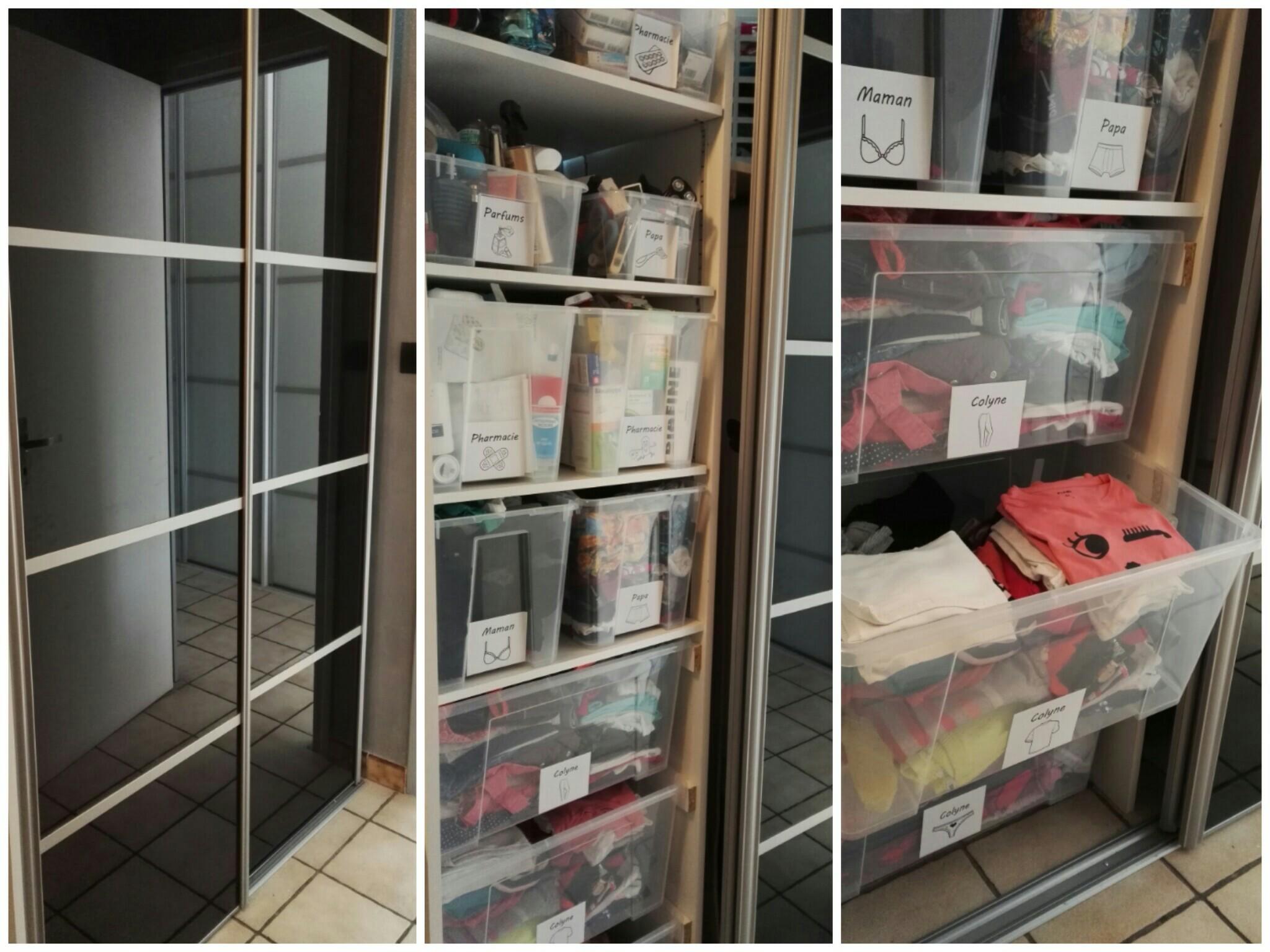 Rangement salle de bain avec des boîtes Ikea Samla