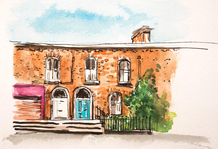 Sketchbook , Dublin doors in watercolors