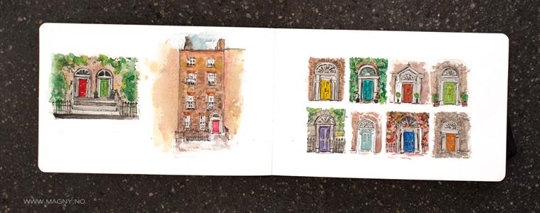Dublin Doors painted in Painting Dublin doors. sketchbook fun. Watercolor, filt pen drawing