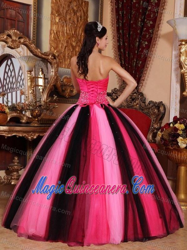 Hot Pink And Black Beaded Tulle Quinceanera Dresses In