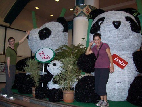 Tanya and Andrew with giant pandas in Chiang Mai