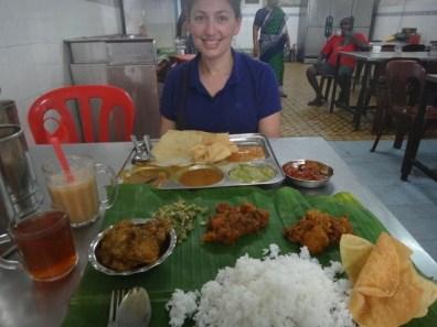 Tanya eating Indian food in Melaka