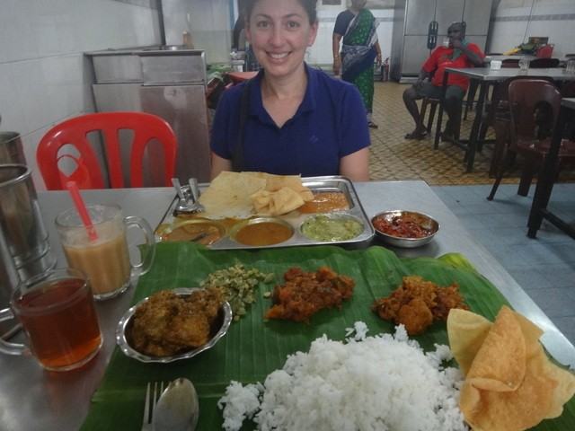 Tanya eating Indian food in Melaka