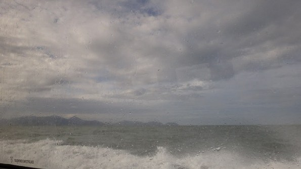 The ocean and sky on the ride