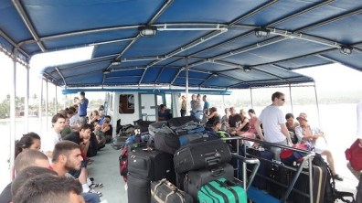 The deck, luggage and seating area on the Haadrin Queen Ferry