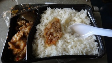 Red curry chicken for lunch on the train