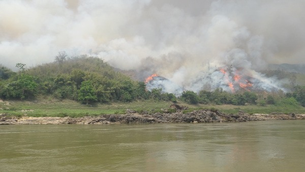Burning off on the Mekong River