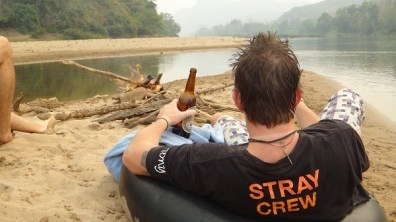 Nong Khiaw - Stray Crew Relaxing With A Lao Brew