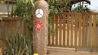 Nong Khiaw - Welcome Peace Sign Made From An Old Bomb