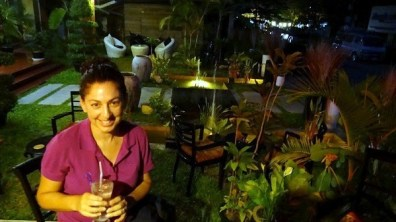 Claremont Angkor Boutique Hotel - Tanya Enjoying The Bar in The Garden