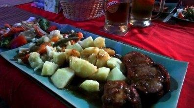 Haus Breman German Restaurant - Hunk of Yummy Pork, Potatoes, Vegetables and Salad