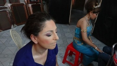 Khmer Traditional Costume - Tanya Half Done With A Beautiful Lady In The Background