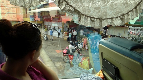 Phnom Penh to Sihanoukville - Looking Out The Bus Window In Phnom Penh
