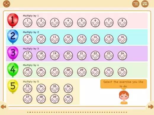 You can practice each multiplication table by doing 8 exercises, like at school.