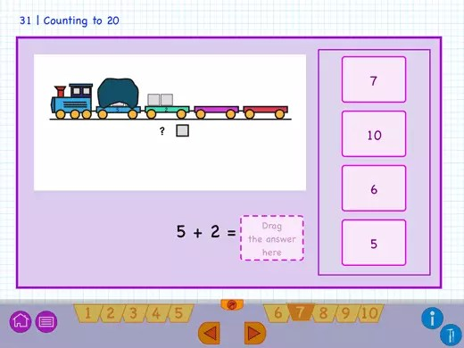 Example question of splitting numbers by using a train.