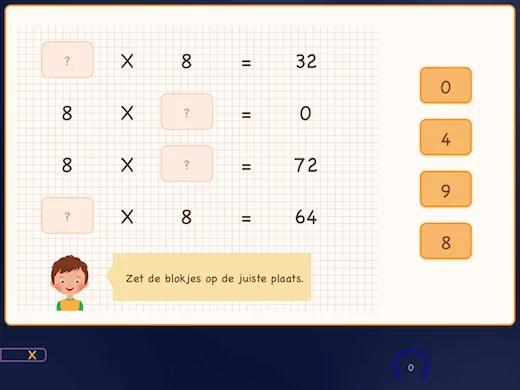 Hier leer je de tafel van 8 kris kras door elkaar.