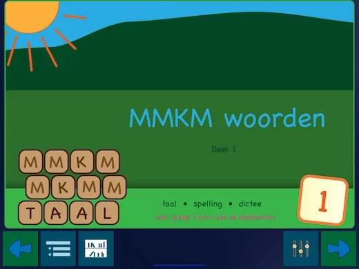 Dit is de eerste pagina van het eerste spelling boekje in de app.