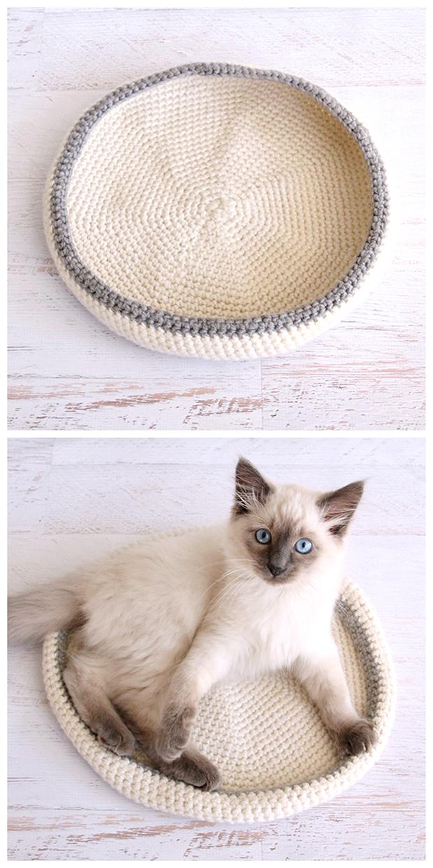 Crocheted Cat Bed di Dabbles and Babbles: regalo di Natale hadmade all'uncinetto