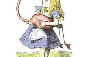 Alice nel paese delle meraviglie alle prese con un fenicottero ostile