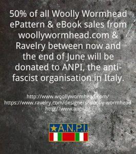 Woolly Wormhead destina il 50% delle sue vendite all'ANPI