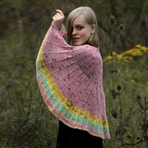 scialle semicircolare a maglia autunno