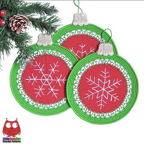 Presine a uncinetto a tema natalizio di Litte Owl's Hut