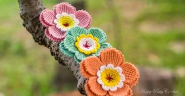 Flower Applique Happy Patty Crochet fiori uncinetto tunisino