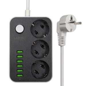 LDNIO 3 prise avec chargeur 6 ports USB