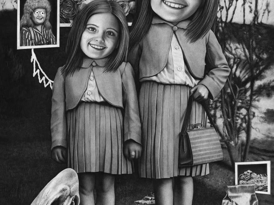 Siblings Amandine Urruty graphite charcoal paper Magma gallery
