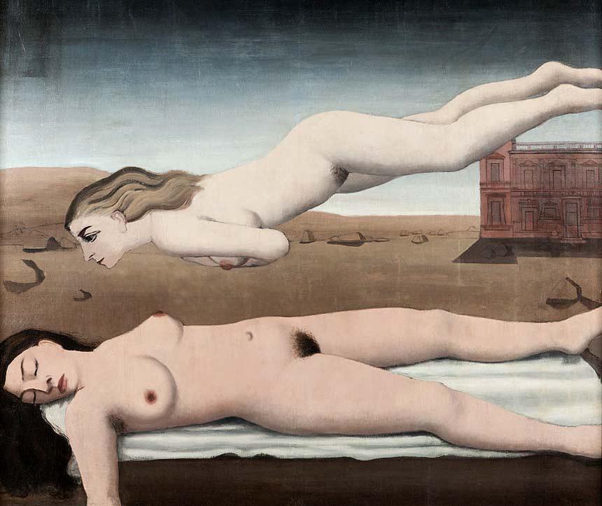 Paul Delvaux Le Reve 1935 olio su tavola cm 151 x 176 cm
