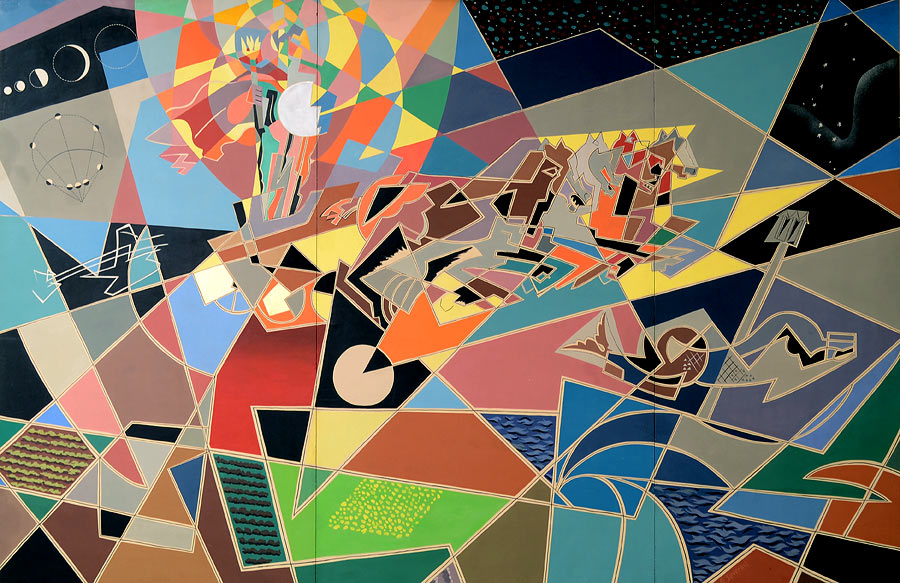 Gino Severini, Zeus partorito dal sole, 1954, tempera e collage su cartoncino, cm 271,5 x 412