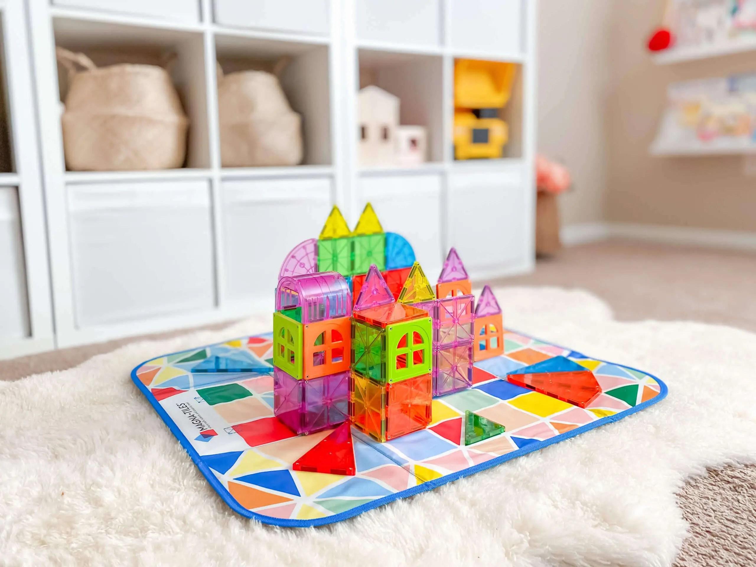 magna tiles storage bin interactive play mat