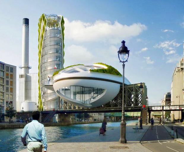 Nada tiene que envidiar a los anteriores diseños el Anti Smog de Vincent Callebaut, que se encontraría situado en París y que estaría dirigido a la producción de energía limpias y renovables como la solar.