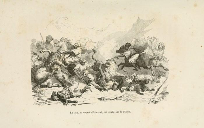 Ilustración de Gustave Doré para la Caza al león (1855)