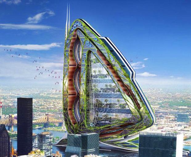 El sol y el viento harían posible que la energía electrica llegara a Dragonfly, una estructura que se asentaría en Nueva York y que incluiría desde oficinas y viviendas a estanques y campos de arroz.