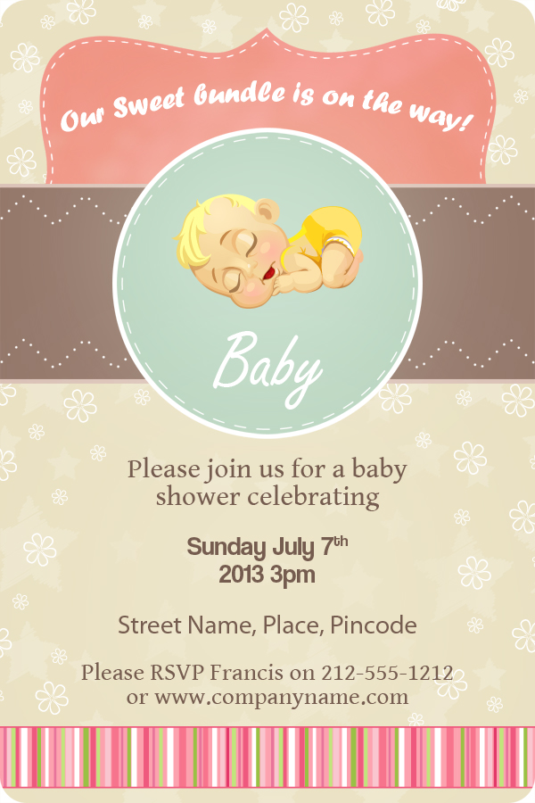 4x6 Inch Custom Printed Baby Shower