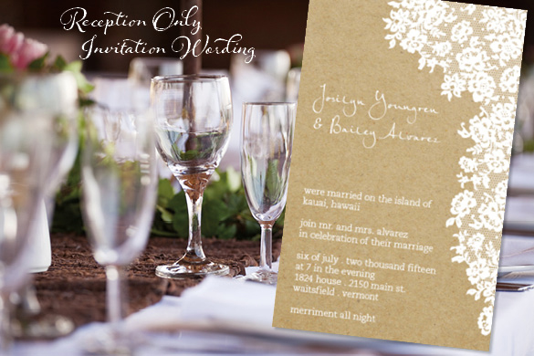 Examples Wedding Reception Invitations Wording