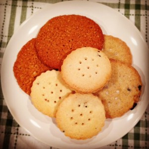 Clockwise from top: Thar Cakes, Wakes Cakes and Derby Biscuits