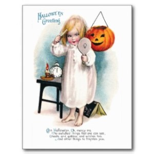 "1914 Halloween postcard showing comb, mirror and candle spell. Book in the background says ""magic."""