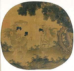 Magu with two female companions, fan painting, Ming dynasty China, Philadelphia Museum