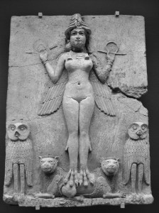 This owl-lady, once thought to be Lillith, is now believed to represent Ishtar. Sumerian bas-relief, 2000 BCE. Photo Aiwok/Wikimedia Commons.