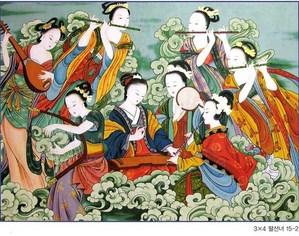 Eight Female Immortals, Korean folk painting