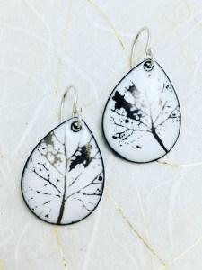 white-leaf earring