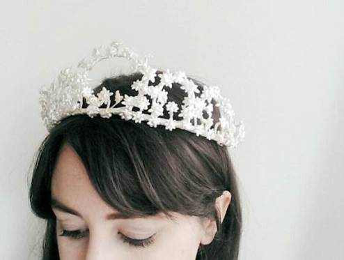 Vintage bridal crown as seen in the Unique Bride Journal