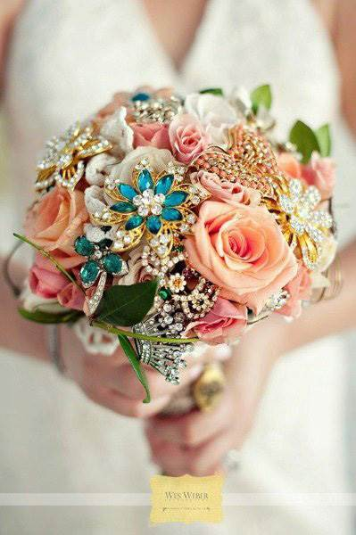 Artificial flower brooch wedding bouquet by Wedding Wire as featured on The National Vintage Wedding Fair blog