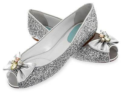 Merle and Morris silver glitter 1960s style wedding shoes