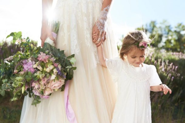 Luxe lilac metallic wedding styling in a lavender field