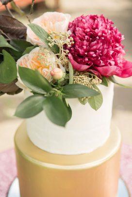 A Pretty Vintage Floral Maximalist Springtime Wedding cake