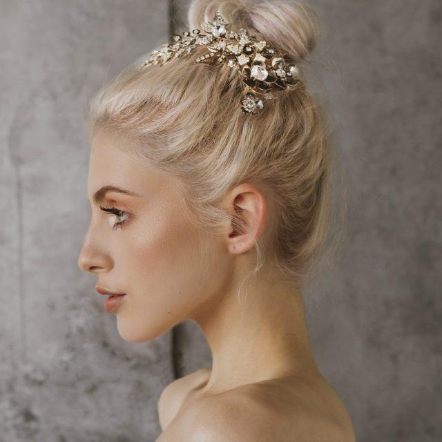 silver bridal comb