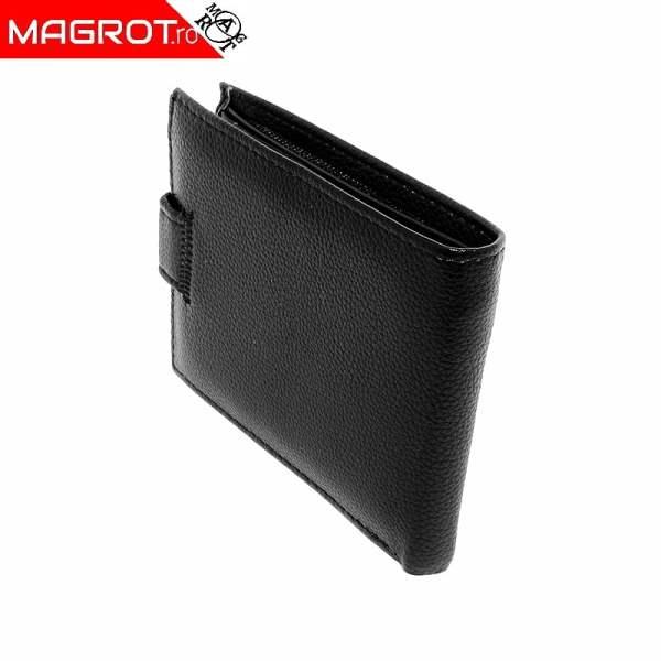 Portofel din piele barbatesc, Denlei, negru cu capsa, 03 black este un portofel usor, modern, realizat din materiale de calitate